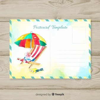 Cartão das férias de verão da aguarela