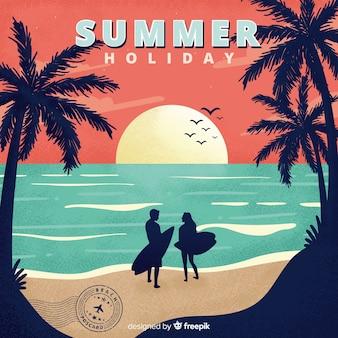 Cartão das férias de verão do vintage