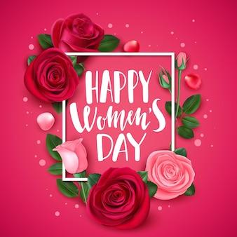 Cartão de 8 de março com rosa. parabéns dia internacional das mulheres cartão floral, flores da moda quadro e modelo de banner de pétalas. parabéns buquê flor cartão rosa