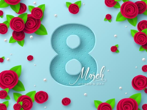 Cartão de 8 de março para o dia internacional da mulher. corte de papel 3d número 8 com rosas e folhas.