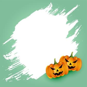Cartão de abóbora assustador de feliz dia das bruxas com espaço de texto