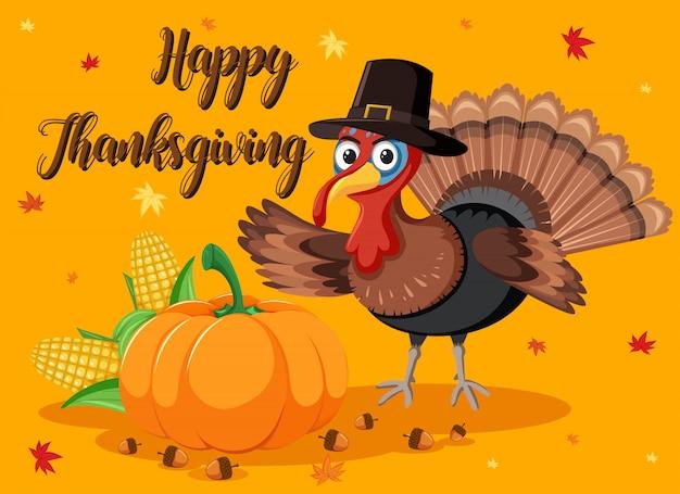Cartão de abóbora e turquia feliz ação de graças