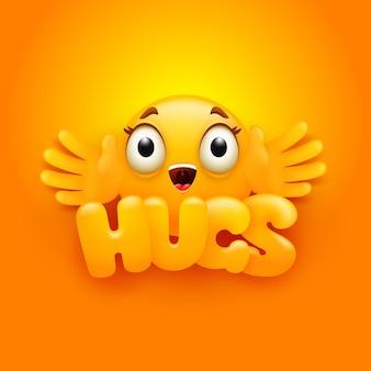 Cartão de abraços. personagem de emoji amarelo no estilo 3d dos desenhos animados.