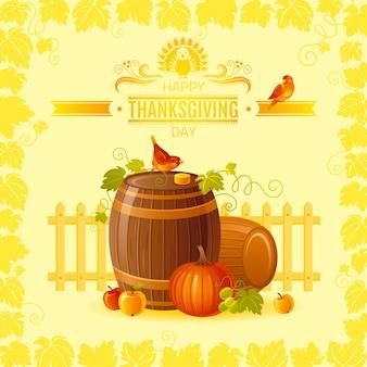 Cartão de ação de graças com barris de outono, uvas, pássaros.