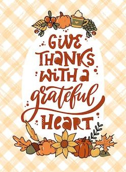 Cartão de ação de graças com citação e rabiscos