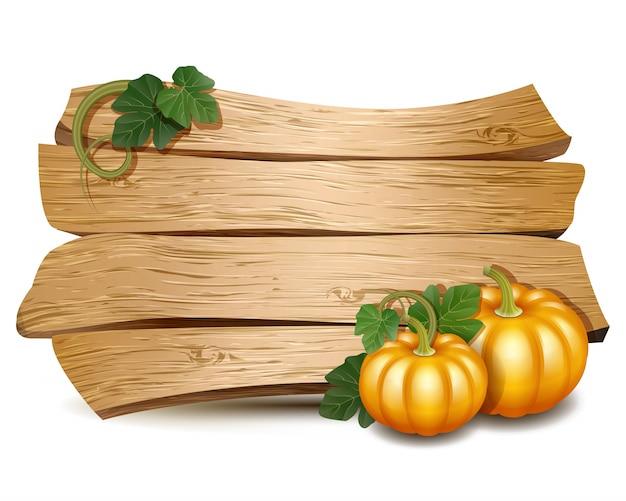 Cartão de ação de graças com placa de madeira e abóboras com folhas