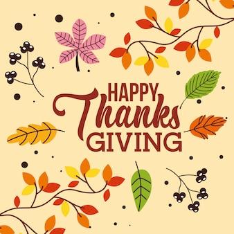 Cartão de ação de graças feliz com folhas de outono