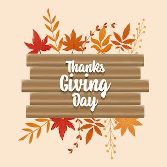 Cartão de ação de graças feliz e folhas de outono