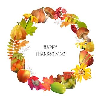 Cartão de ação de graças. moldura redonda decorativa de outono com elementos naturais