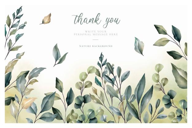Cartão de agradecimento bonito com folhas de aquarela