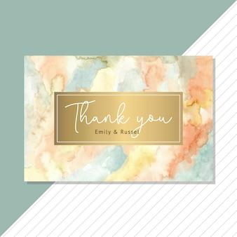 Cartão de agradecimento com aquarela abstrata e fundo dourado