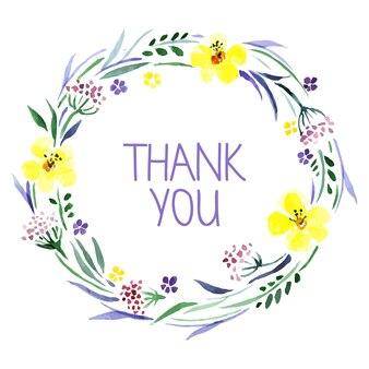 Cartão de agradecimento com aquarela bouquet floral. ilustração vetorial
