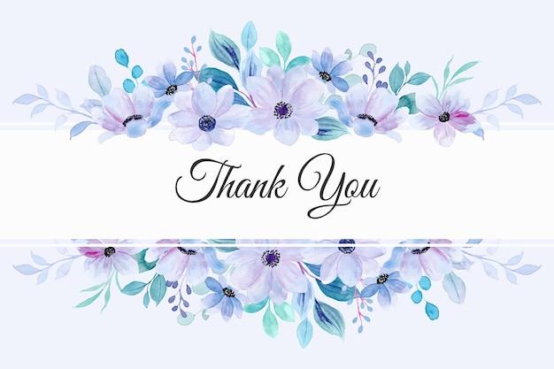 Cartão de agradecimento com aquarela de borda de flor pastel