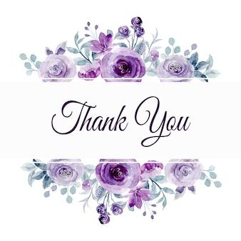 Cartão de agradecimento com aquarela de borda de flor roxa