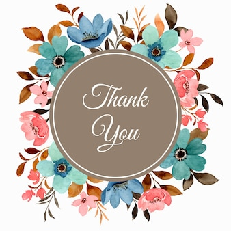 Cartão de agradecimento com aquarela floral colorida