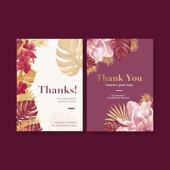 Cartão de agradecimento com aquarela floral pampa