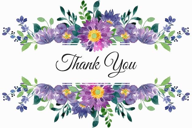 Cartão de agradecimento com aquarela floral verde roxa