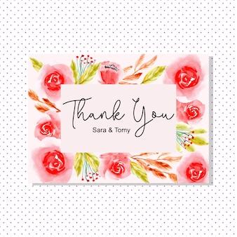 Cartão de agradecimento com aquarela floral vermelho