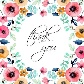 Cartão de agradecimento com aquarela floral