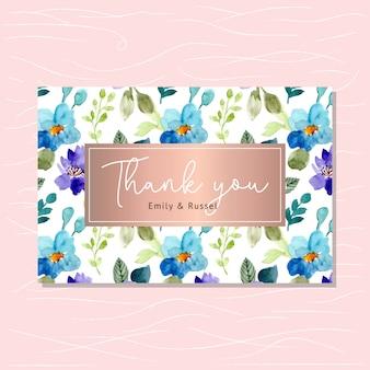 Cartão de agradecimento com aquarela padrão floral
