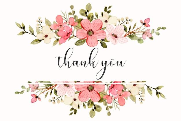 Cartão de agradecimento com aquarela rosa branca floral