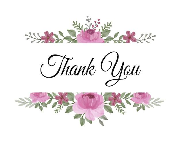 Cartão de agradecimento com arranjo floral