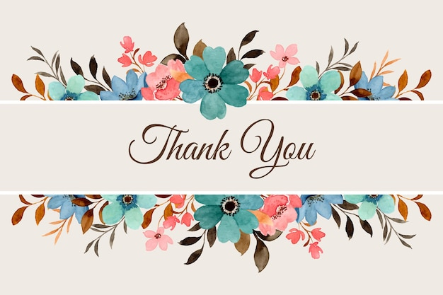 Cartão de agradecimento com borda de flores em aquarela