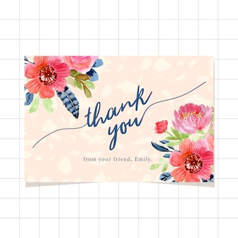 Cartão de agradecimento com bordas florais em aquarela