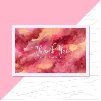 Cartão de agradecimento com cartão aquarela abstrata vermelho amarelo