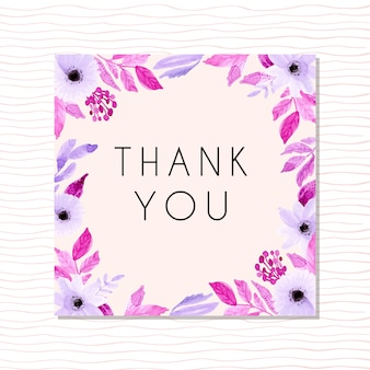 Cartão de agradecimento com flor aquarela roxo suave