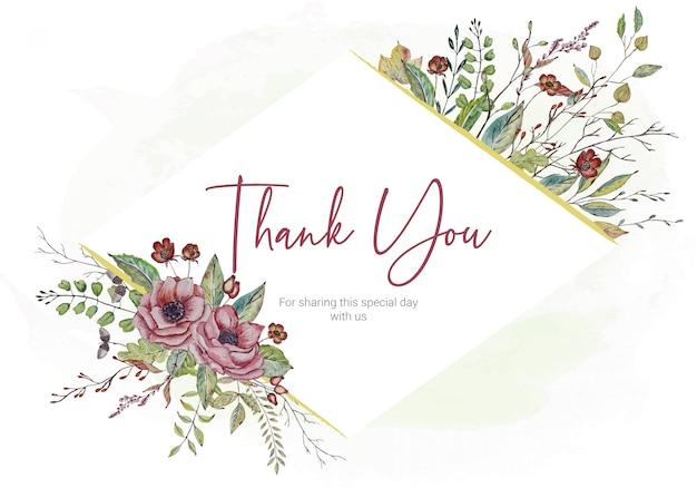 Cartão de agradecimento com flores em aquarela de casamento