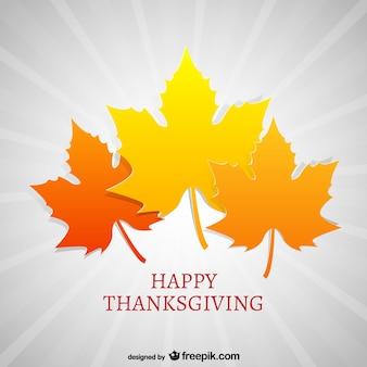 Cartão de agradecimento com folhas de outono