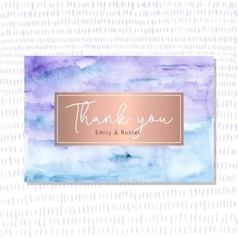 Cartão de agradecimento com fundo aquarela abstrata