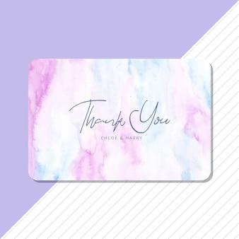 Cartão de agradecimento com fundo aquarela azul suave roxo