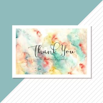 Cartão de agradecimento com fundo aquarela colorido abstrato