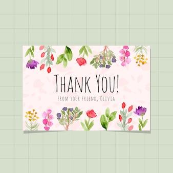 Cartão de agradecimento com fundo aquarela jardim floral