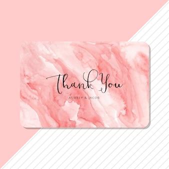 Cartão de agradecimento com fundo aquarela rosa abstrata