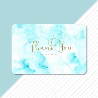 Cartão de agradecimento com fundo azul aquarela abstrata