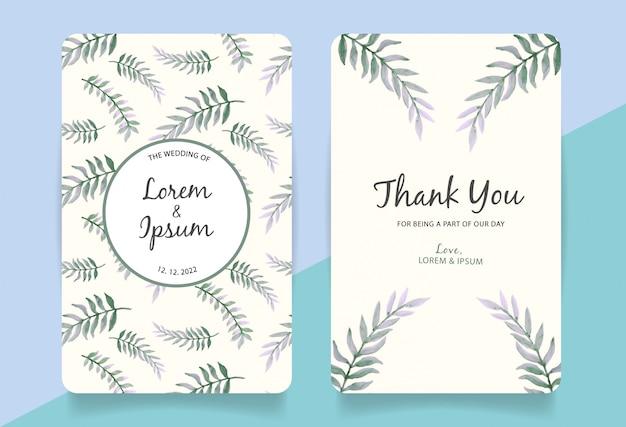 Cartão de agradecimento com fundo de folhas em aquarela