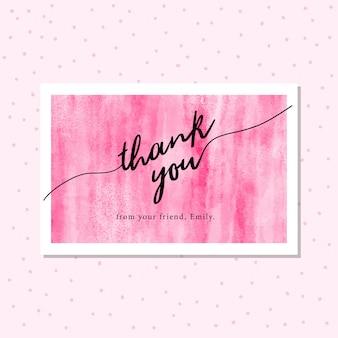 Cartão de agradecimento com fundo rosa aquarela abstrata