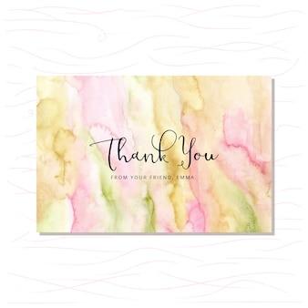 Cartão de agradecimento com fundo verde aquarela rosa