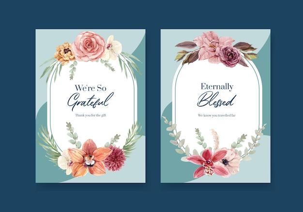 Cartão de agradecimento com ilustração em aquarela de design de conceito de cerimônia de casamento