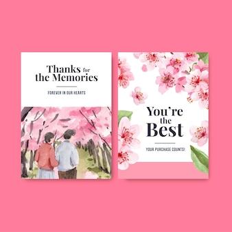 Cartão de agradecimento com ilustração em aquarela de design de conceito de flor de cerejeira