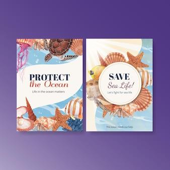 Cartão de agradecimento com ilustração em aquarela de design de conceito de vida marinha