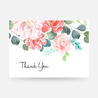 Cartão de agradecimento com letras e flores.