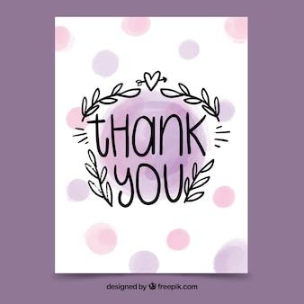 Cartão de agradecimento com letras em mancha de aquarela
