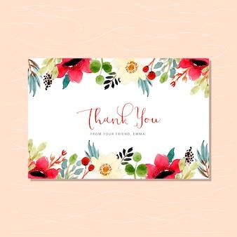 Cartão de agradecimento com linda moldura de aquarela floral
