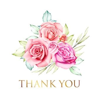 Cartão de agradecimento com lindo bouquet floral aquarela