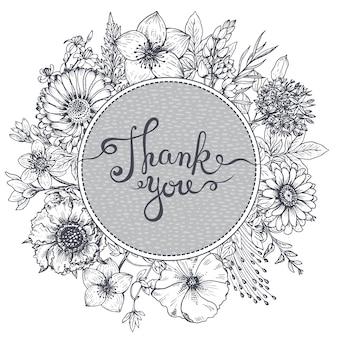 Cartão de agradecimento com mão desenhada flores, folhas e ramos no estilo de desenho.