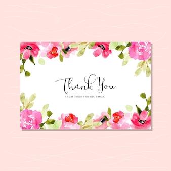Cartão de agradecimento com moldura aquarela floral rosa